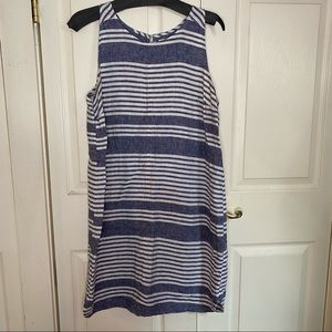 Old Navy sleeveless blue striped linen dress
